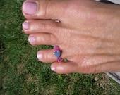 purple beaded hemitite heart toe ring