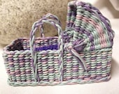Fantastic Baby Bassinet. Portable with Mattress and Crocheted Blanket in Aqua Pink Lavendar Purple