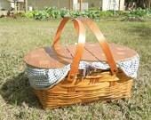 Vintage Blue Gingham Picnic Basket