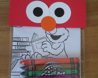 Elmo inspired crayon favors - Coloring Pack , Crayons 10 pcs