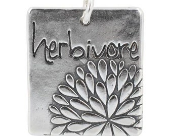 HERBIVORE Rectangular Word Pendant with Flower Blossom Design in Sterling Silver by Zoe and Piper, Helps Support Animal Charities, 7413