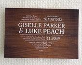 Rustic Wood Heart / Printable Wedding Invitation & RSVP Postcard