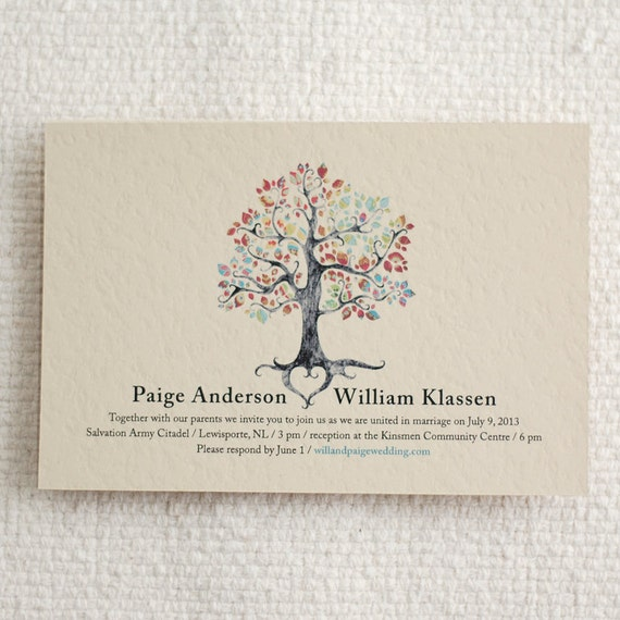 Items similar to printable wedding invitation rsvp for Free printable tree wedding invitations