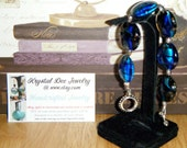 """8"""" Glass beaded bracelet with little silver heart accents Blue black swirls (FREE Shipping in continental US)"""