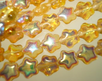 Czech Glass Transparent Gold Aurora Borealis Christmas star beads