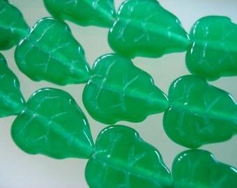 Czech Glass Milky Green  Tree Leaves8x10mm