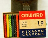"Vintage Onward Hexagon Crayons and Major Hexagon Crayons ""They Don't Roll"" - esther2u2"