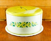 Vintage Cake Carrier Metal Yellow Daisy