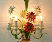 Reserved for Janice White     Vintage Italian Tole Chandelier Red Blue Purple Yellow Daisies Four Candle Lights