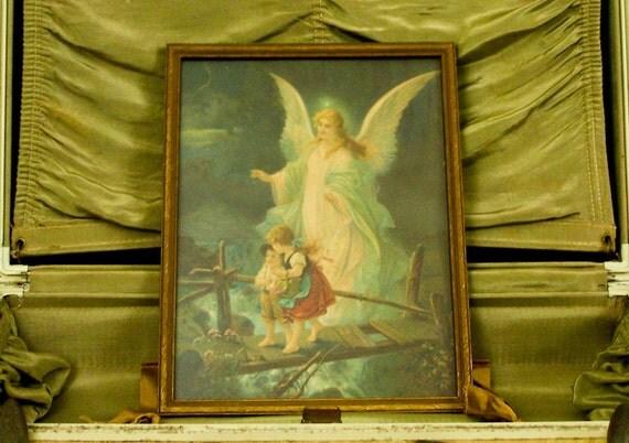 Vintage Guardian Angel Picture Print In Old Wooden Frame