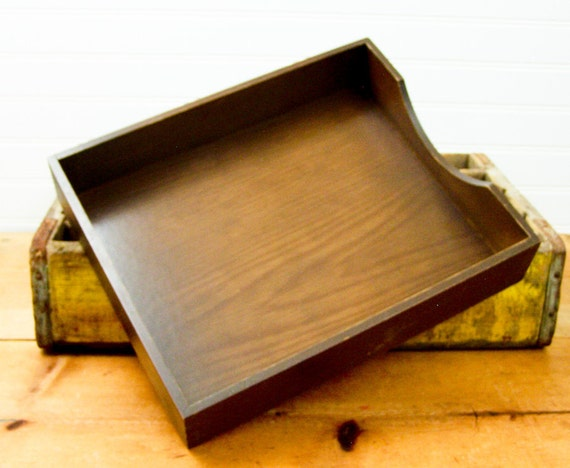 Vintage Wood In and Out File Box Tray