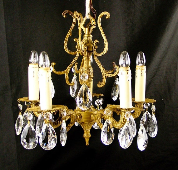 Antique Candle Chandeliers Champagne Crystal Chandelier: Vintage Crystal Chandelier Brass Hanging Chandelier By