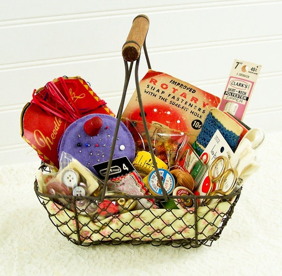 Sewing Basket Instant Vintage Sewing Collection in Wire Mesh Basket full of Vintage Sewing Supplies