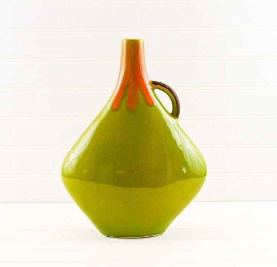 Vintage Olive Green Pottery Jug Signed 1966