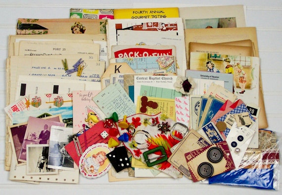 Vintage Paper Ephemera Pack Game Pieces Fabric Jewelry Lace Photos and More