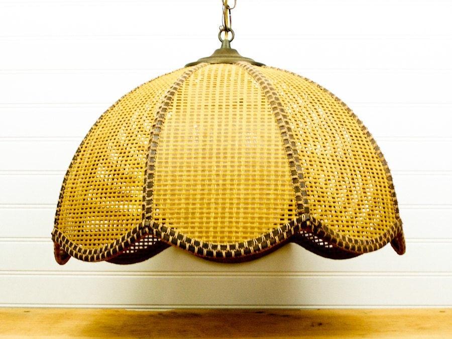 Vintage Wicker Hanging Lamp Light Brown Swag
