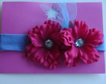 Pink and blue flower headband