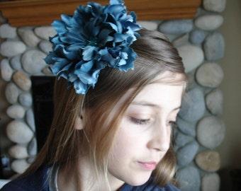 Blue Peony Flower headband