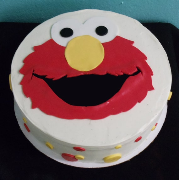 Elmo Edible Cake Images : Edible Fondant Cake Topper Sesame Street Elmo Face