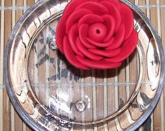 Incense Holder - Red Polymer clay Rose