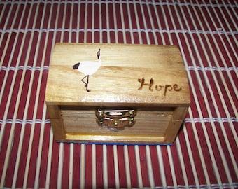 Trinket wood box with japanese crane (tsuru) and HOPE with foam lining