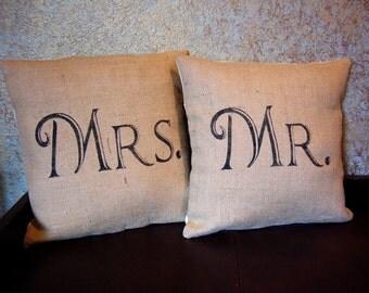 Mr and Mrs burlap pillows