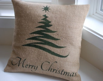 Burlap pillow cover handpainted with Christmas tree and Merry Christmas - Pillow Insert Sold Separately