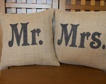 Burlap Mr and Mrs pillows handpainted in black
