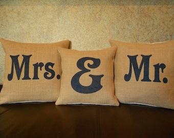 """Mr & Mrs burlap pillows - set of 3 handpainted with """"Mr """" and """"Mrs"""" and ampersand pillows"""