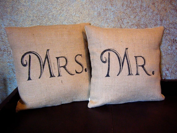 Items Similar To Mr And Mrs Burlap Pillows On Etsy