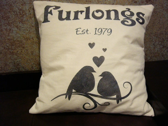 Pillow cover - personalized - lovebirds, hearts, family name and established/wedding date