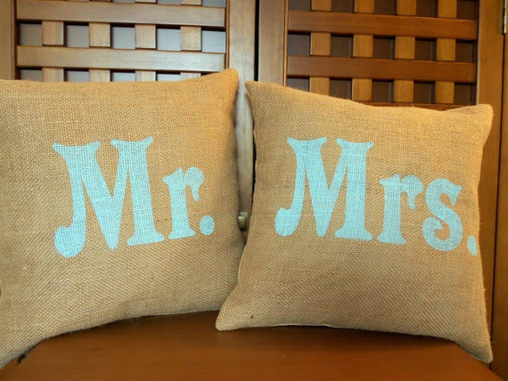 Mr And Mrs Burlap Pillow Covers With Aqua Blue By