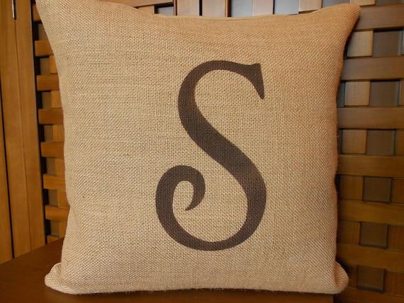 """Monogram burlap pillow  -  initial - personalized - 16"""""""