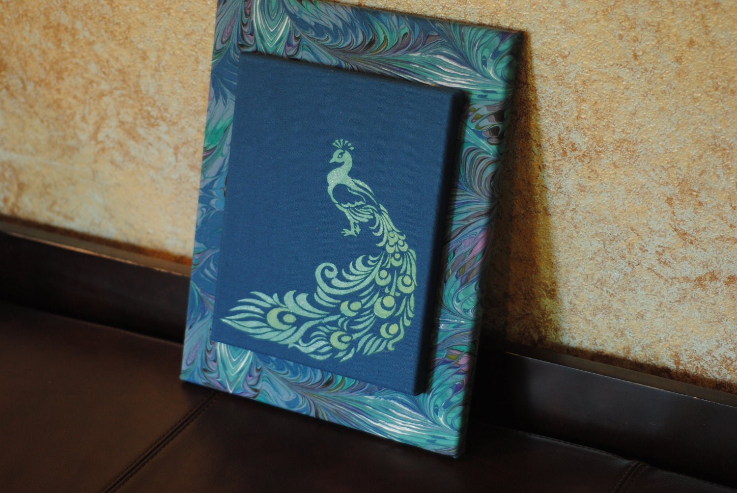 11x14 fabric covered canvas wall art with handpainted peacock for Fabric wall art