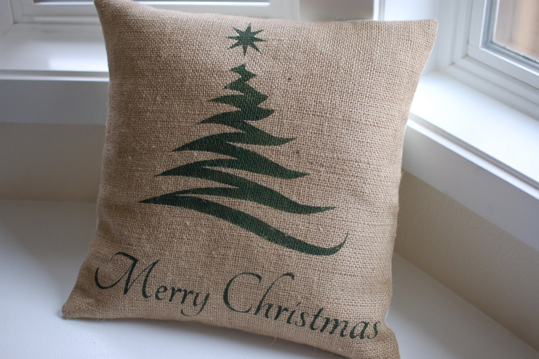 Burlap pillow cover handpainted with Christmas by LaRaeBoutique