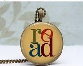 SALE Reading Pendant Glass Dom Art  Pendant Vintage Bronze Picture Pendant Photo Pendant Wearable Art Jewelry by Lizabettas