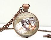 Teacup Necklace : Butterfly Jewelry. Clock Jewelry. Pendant. Charms. Victorian Art. Copper Jewelry. Handmade Jewelry. Lizabettas (1416)