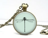 Dragonfly Necklace - Dragonfly Jewelry - Dragonfly Pendant - Bronze Dragonfly - Dragonfly Gifts - Handmade Jewelry - Blue Jewelry