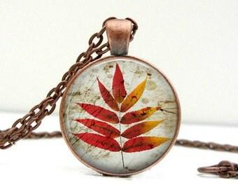 Red Leaf Necklace : Glass Art Pendant Picture Pendant Photo Pendant (1429)