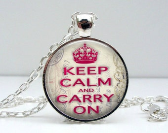 Keep Calm Necklace - Pink White - Glass Picture Pendant Photo Pendant (1443)