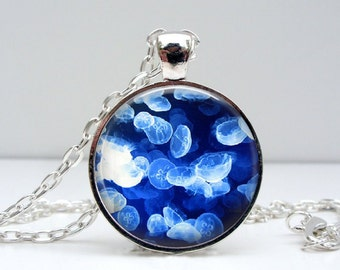 Jelly Fish Necklace : Glass Picture Pendant Photo Pendant Handcrafted Jewelry by Lizabettas (1447)