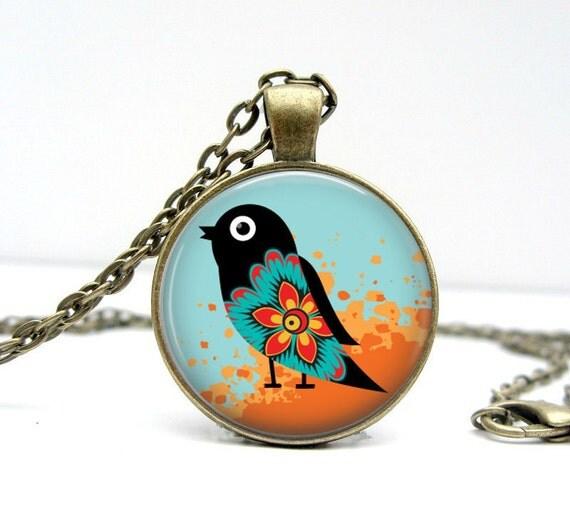 Deco Bird Necklace Glass Art Pendant Picture Pendant Photo Pendant (1525)