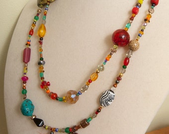 Carnival Jr. Necklace with Lucky Feather OOAK