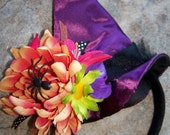 MINI WITCH HAT Headband - Sizes Newborn to Adult - Choose color of hat: Hot Pink, Purple or Orange
