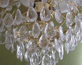 Chandelier, Vintage Waterfall  with Crystal Drops, Custom Colors Available, Treasury Item
