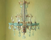 RESERVED for Quinn - Chandelier Lighting, Italian Brass and Aqua Crystal