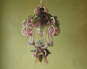Pendant Light,  Beaded Petite Fairy Princess with Blossoms and Leaves