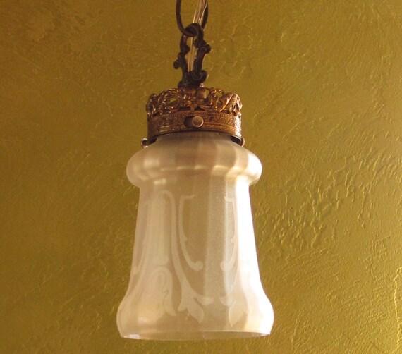 Glass Lamp Shade, Art Nouveau, Iridescent Etched Glass, Antique
