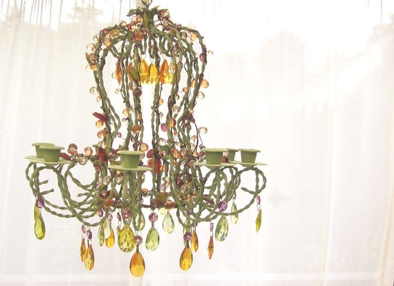 Harvest Candle Chandelier, Hand Painted, One of a Kind