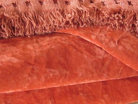 Vintage Bedspread Coral Crushed Velvet King Size